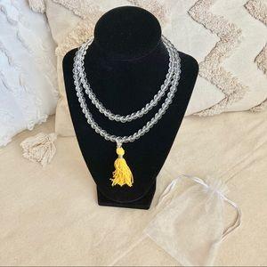 """Crystal Glass Mala Clear Prayer Beads Garland 30"""""""